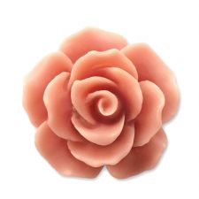 18mm Coral Resin Rose Bloom Cabochon
